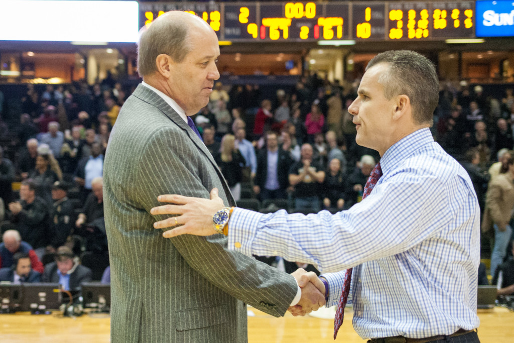 Billy Donovan shakes hands with Kevin Stallings after Vanderbilt's 67-61 win against the Florida Gators at Memorial Gym February 3, 2015.