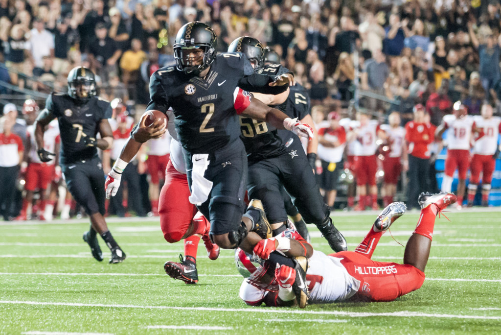 Johnny McCrary (2) is tackled at the goal line during Vanderbilt's 14-12 loss against the Western Kentucky Hilltoppers September 3, 2015 at Vanderbilt Stadium Nashville, TN.