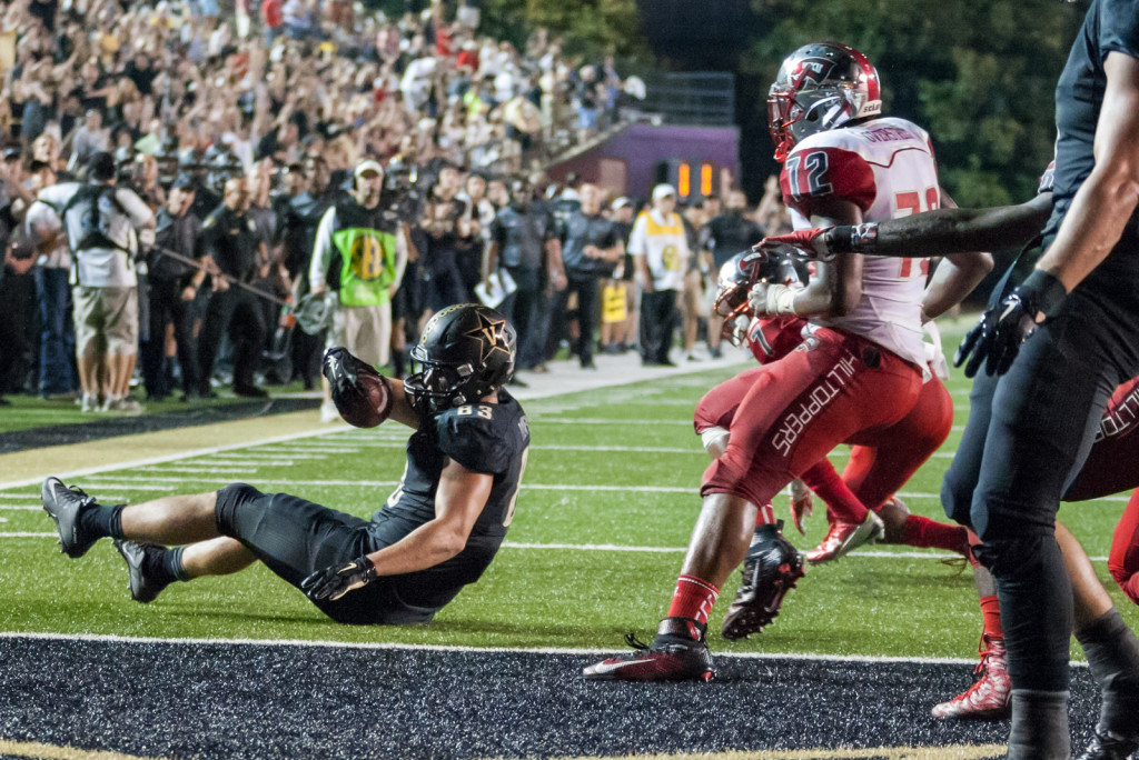 Nathan Marcus (83) is stopped on a two point conversion during Vanderbilt's 14-12 loss against the Western Kentucky Hilltoppers September 3, 2015 at Vanderbilt Stadium Nashville, TN.