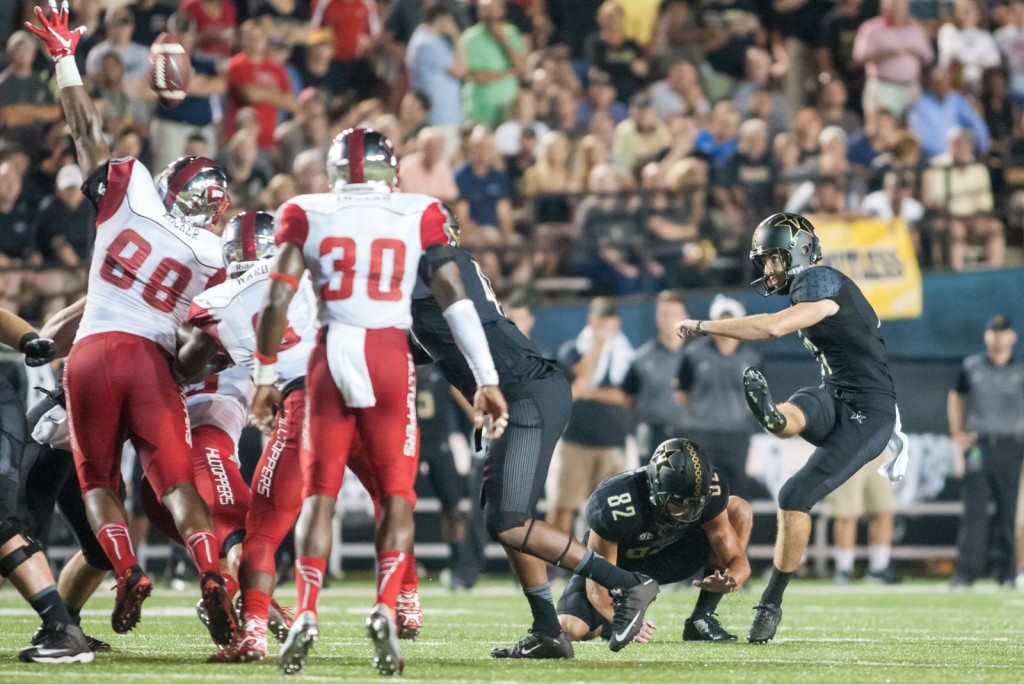 Tommy Openshaw (17) connects on the 49 yard field goal during Vanderbilt's 14-12 loss against the Western Kentucky Hilltoppers September 3, 2015 at Vanderbilt Stadium Nashville, TN.