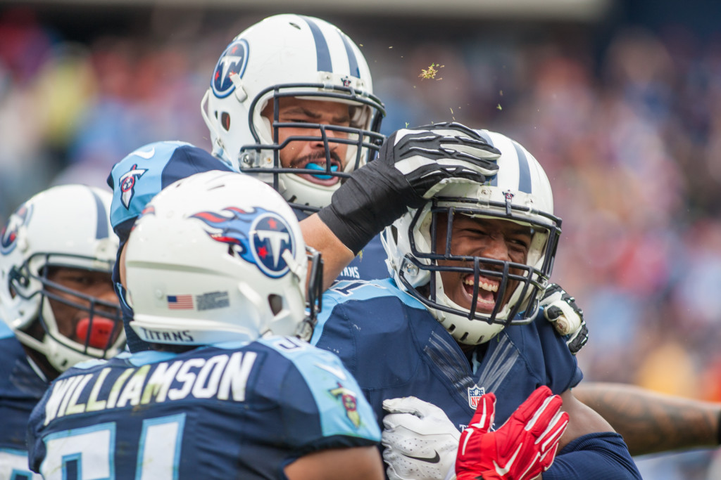 David Bass (51) celebrates after an interception as the Atlanta Falcons defeated the Tennessee Titans 10-7 at Nissan Stadium Nashville, TN October 25. 2015.