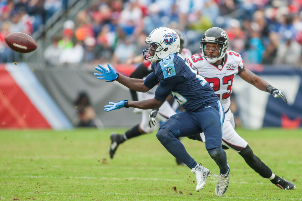 Kendall Wright (13) makes a catch as the Atlanta Falcons defeated the Tennessee Titans 10-7 at Nissan Stadium Nashville, TN October 25. 2015.