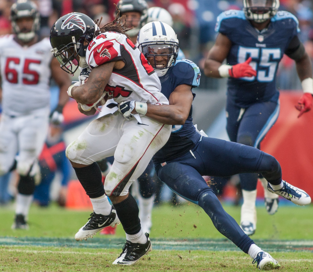 Devonta Freeman (24) carries the ball as the Atlanta Falcons defeated the Tennessee Titans 10-7 at Nissan Stadium Nashville, TN October 25. 2015.