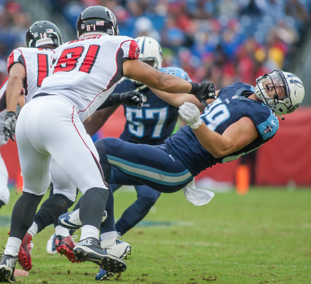Phillip Supernaw (89) is knocked back the Atlanta Falcons defeated the Tennessee Titans 10-7 at Nissan Stadium Nashville, TN October 25. 2015.
